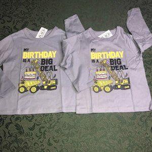 Nwt TWINS  2t 3t or 4t BIRTHDAY trucks shirts boys
